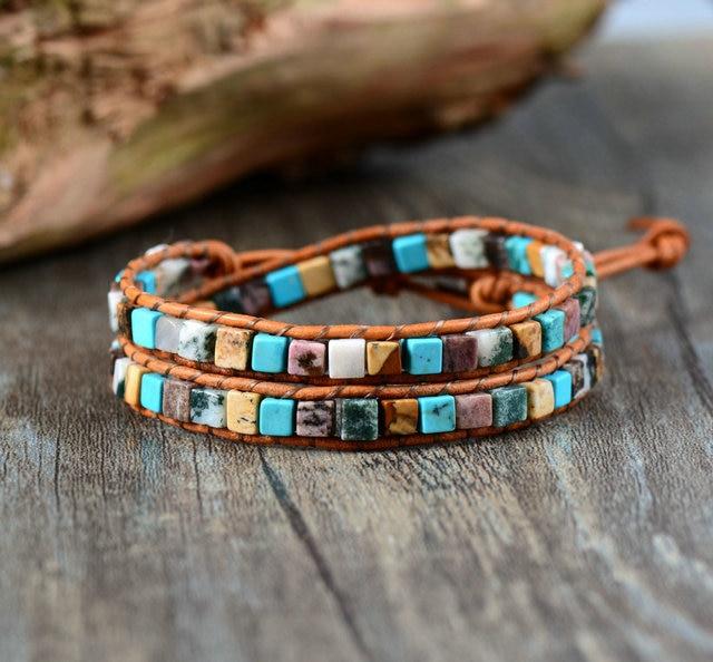Women Leather Bracelets High End Mix Natural Stones 2 Strands Wrap Vintage Weaving Bead Bracelet