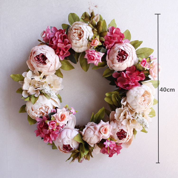 Flone Artificial Peony Wreaths Silk Flower Simulation Flowers Wreaths Door Ornaments Garland Wedding Home Party Decorative (5)