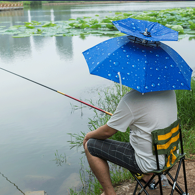 c423ce0a1424a Double-layer Windproof Fishing Umbrella Hat Anti-UV Protection Head-wearing  Umbrella - Blue