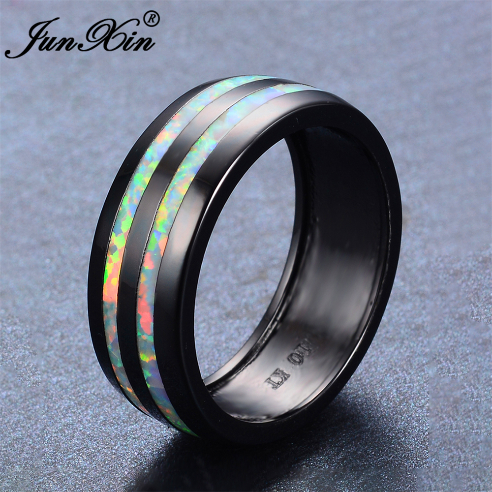 JUNXIN Vintage Male Female Ring White Fire Opal Ring Retro