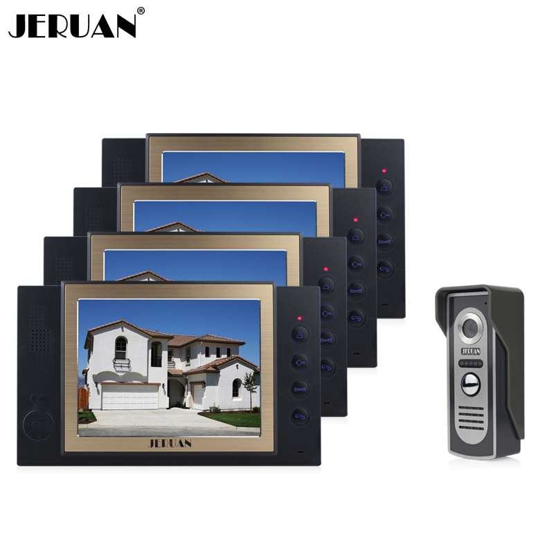 JERUAN 8 inch video door phone doorbell intercom system One to Four Video Doorphone video recording photo taking jeruan 8 inch video door phone high definition mini camera metal panel with video recording and photo storage function
