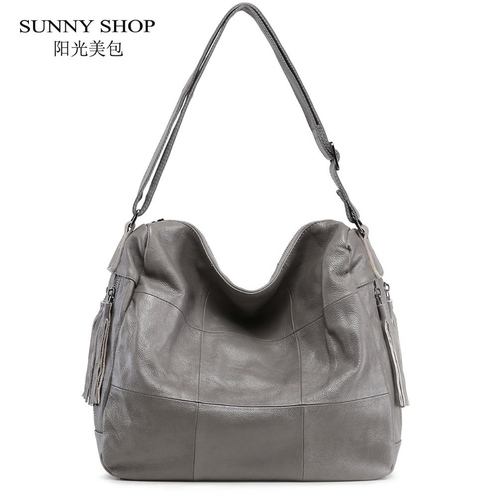 SUNNY SHOP Vintage 100% Genuine Leather Handbags Plaid Tassel Shoulder Bags Luxury Handbags Women Bags Designer A4 Available vintage designer 100