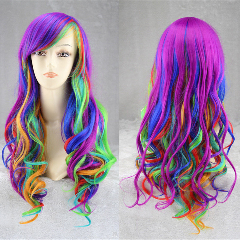 Hot Anime Cosplay Wig Halloween Little Horse Wig Party Stage Rainbow Hair