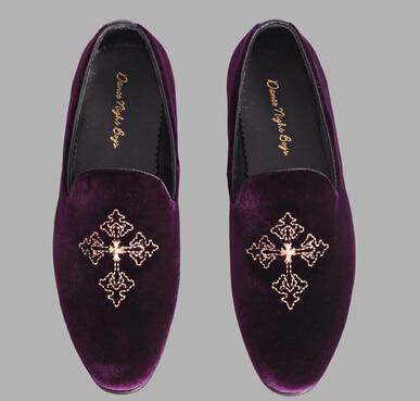 Purple men smoking slippers velvet loafers 6-9