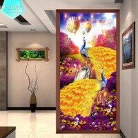 Pshiny 5d diy diamante bordado lindo duas imagens do pavão kit mosaico animais strass completo pintura diamante cruz stich