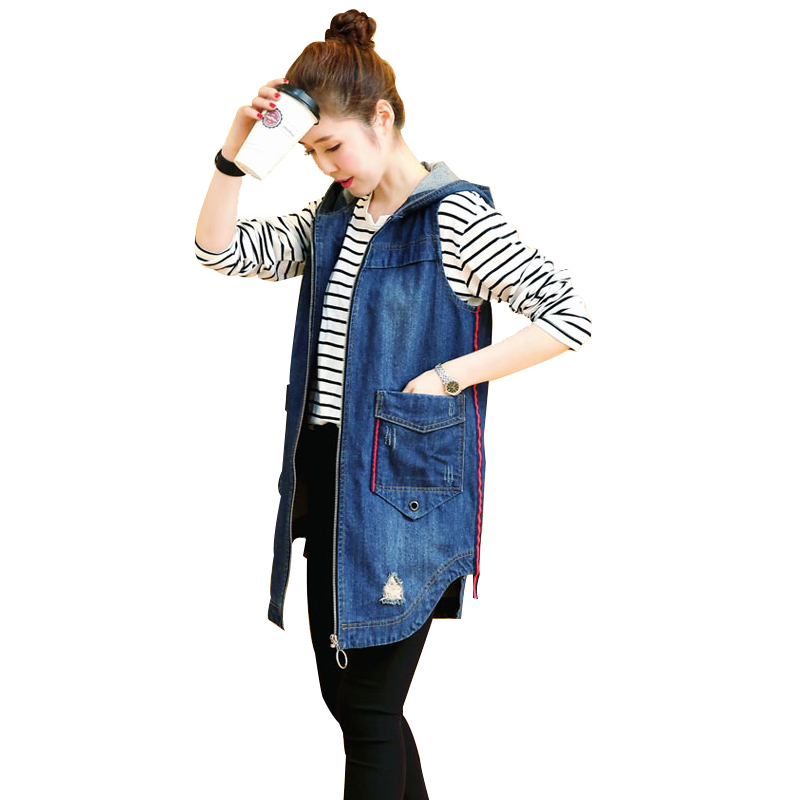 2020 Asymmetry Hooded Female Denim Vest Zipper Hole Plus Size Sleeveless Cardigan Women Casual Jacket Fashion Casacos Feminino