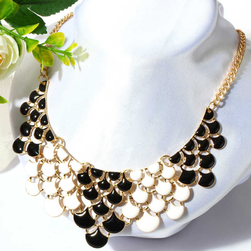 15279832f8 Hesiod Fashion Yellow Green Black White Oil Jewelry Wedding Party Statement  Necklace For Women Short Design Chokers Necklace