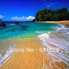 Beautiful beach 8'x8′ CP Computer-painted Scenic Photography Background Photo Studio Backdrop ZJZ-389