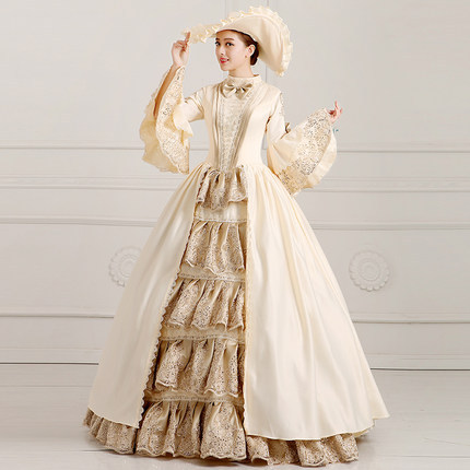 Marie Antoinette Inspired Champagne Masquerade Dress Princess Performance Costume  Ball Gowns