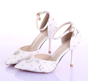 Summer new elegant with fine with white lace wedding shoe ultra-high bride shoes pointed photography female sandals