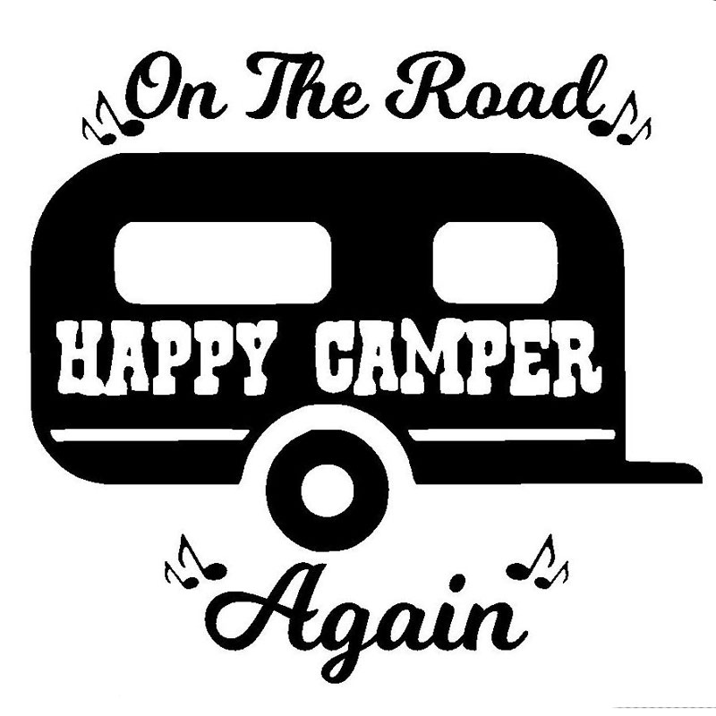 Wholesale 5pcs10pcs15CM143CM On The Road Again Camping Car Window Sticker Camper Decal Cute Funny Black Sliver In Stickers From