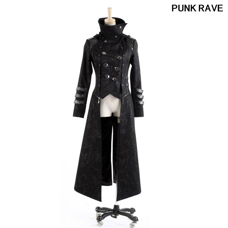 Модные женские черные тонкие пальто со шляпой Streampunk Готический Visual Kei молнии съемный Длинные и Короткие Куртка с капюшоном в стиле Панк Rave