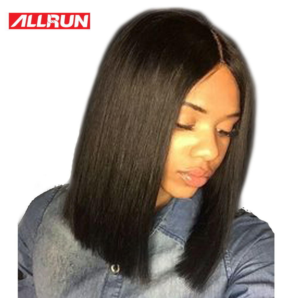 ALLRUN Malaysian Non Remy Hair 130% Density Short Cut Bob Wig Lace Frontal Human Hair Wigs With Baby Hair Natural Black Color