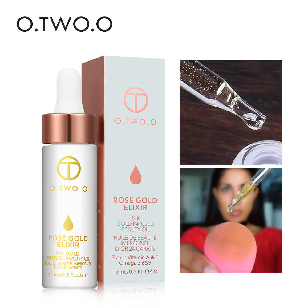 O.TWO.O Professional 24k Rose Gold Makeup Primer Anti-Aging Moisturizer Face Care Essential Oil Makeup Base makeup Liquid 15ml