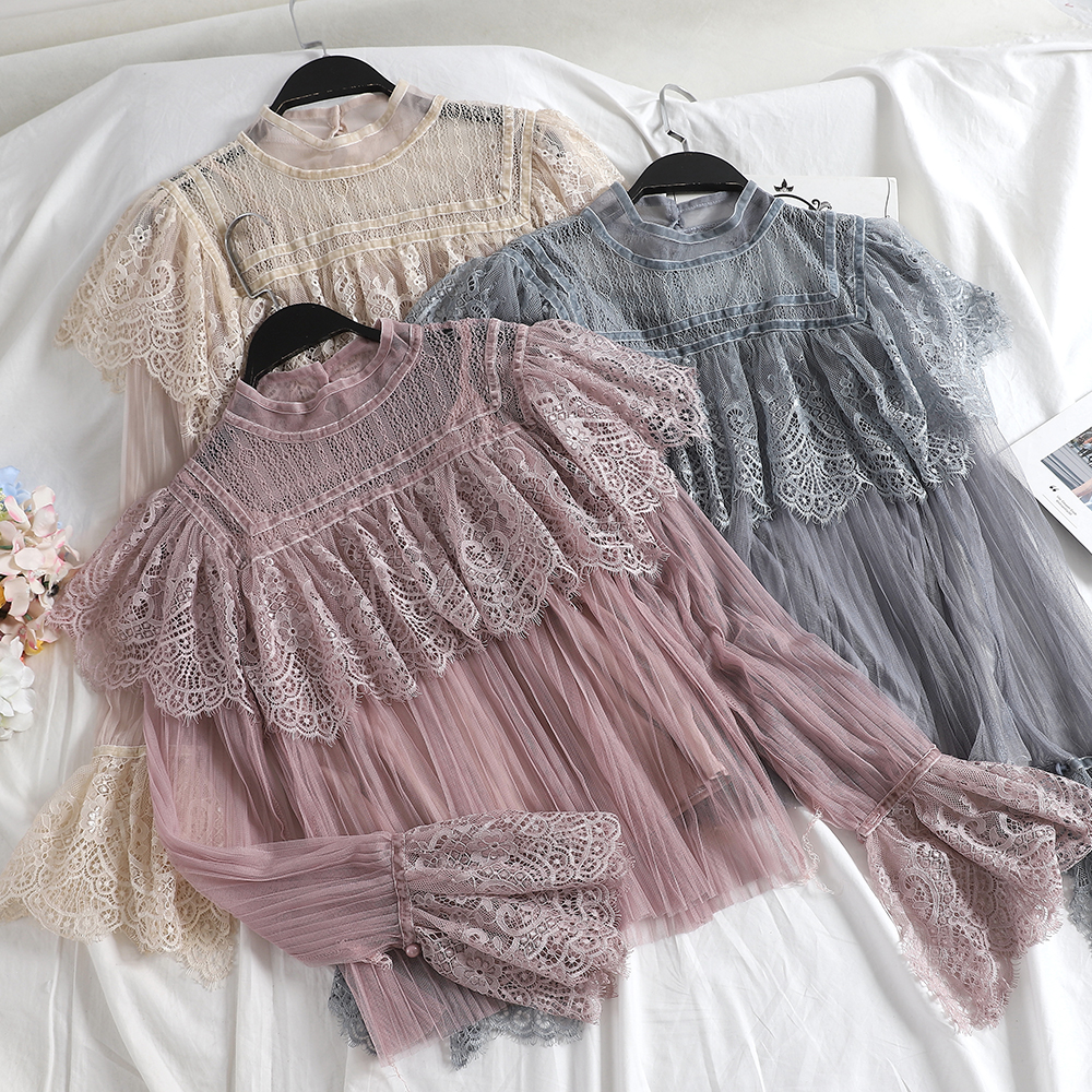 Women Flare Sleeve Basic Ruffles Shirt Casual New Patchwork Hollow Out Lace Flower Gauze Mesh Voile Pullover Pleated Blouse Tops Delicacies Loved By All Back To Search Resultswomen's Clothing
