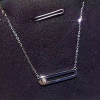 ANI 18K White Gold (AU750) Wedding Pendant Necklace 0.011 Carat Real Diamond for Women Fashion Engagement Chain Fine Jewelry
