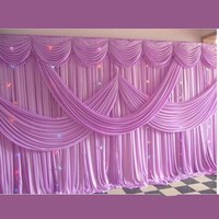 3 m X 6 m (10ft*20ft) fashion birthday party wedding deco ice silk fabric stage with swag props backdrop curtain customized