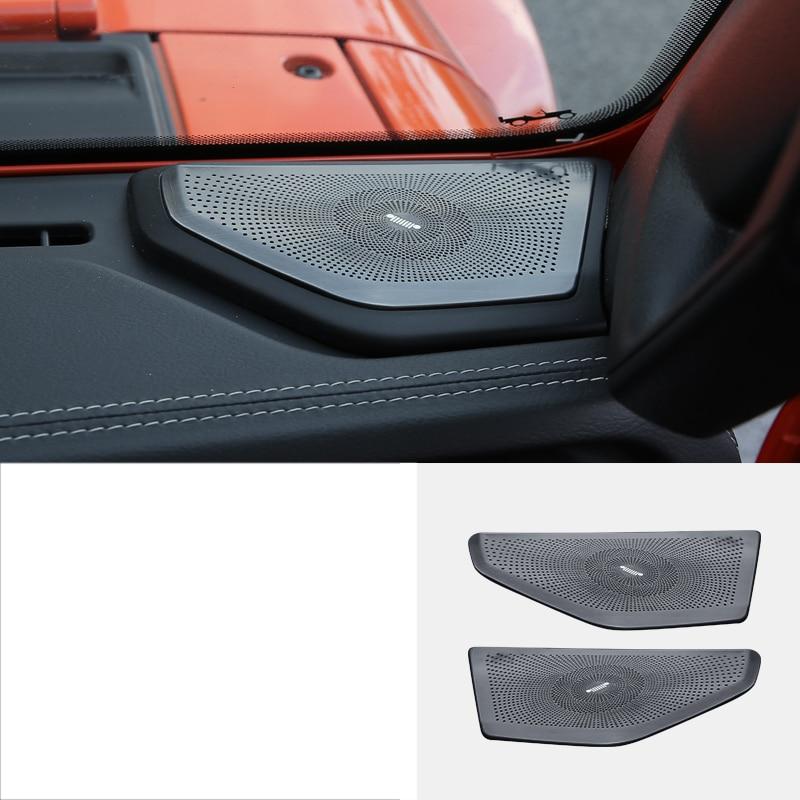 lsrtw2017 titanium black stainless steel car dashboard sound trims decoration for jeep wrangler 2018 2019 JL