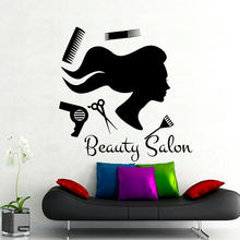 Hot Sale Beauty Salon Long Hair Girl Wall Sticker PVC Adhesive Living Room Decorative Wall Decals(China)