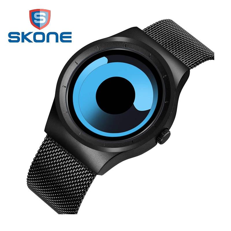 Skone Brand 2017 New Men Watches Stainless Steel Mesh Strap Sport Wrist Watches Men Fashion Quartz