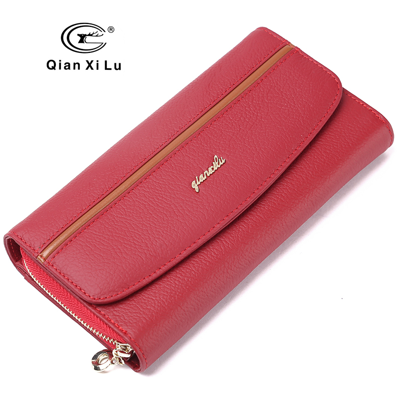 GIFT BOX csomagolás valódi bőr női pénztárcák szervező pénztárca női telefon pénztárca kártya tartó carteira feminina
