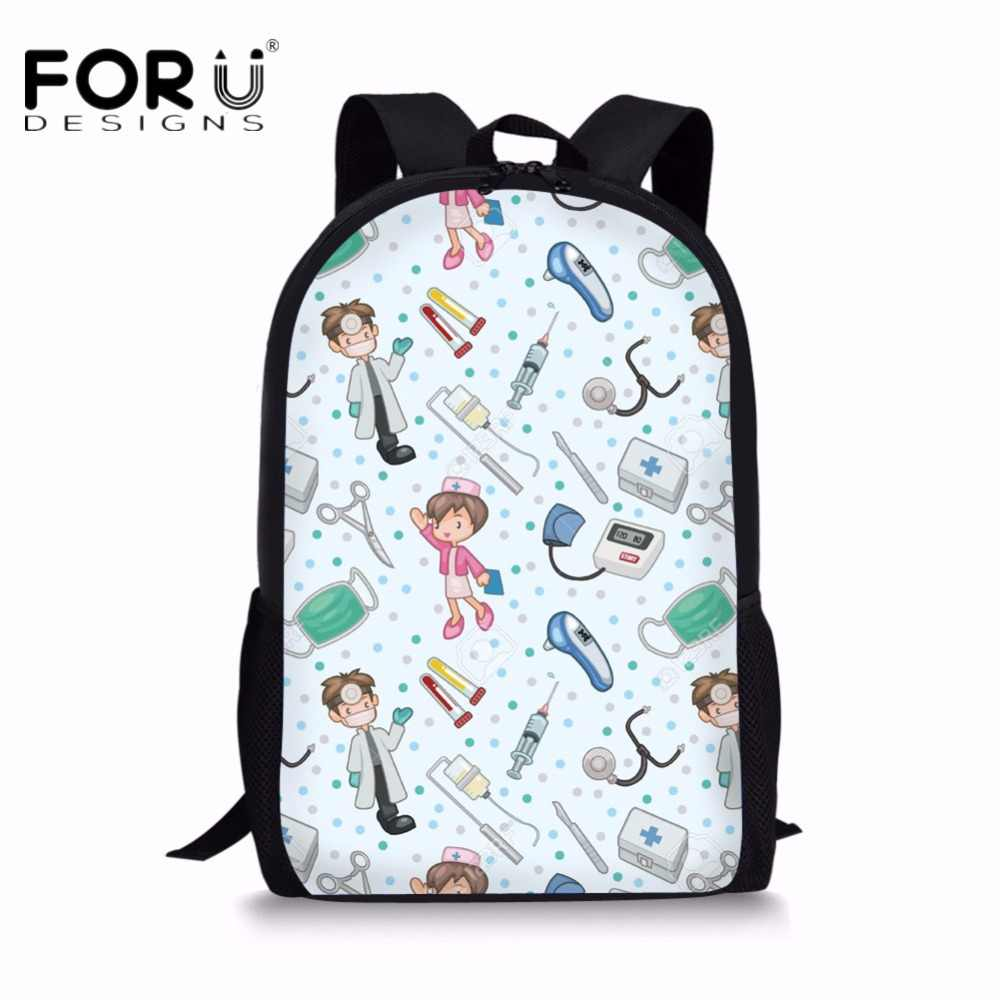 Forudesigns Cute 3d Cartoon Nurse Print School Bags For Teen Girls