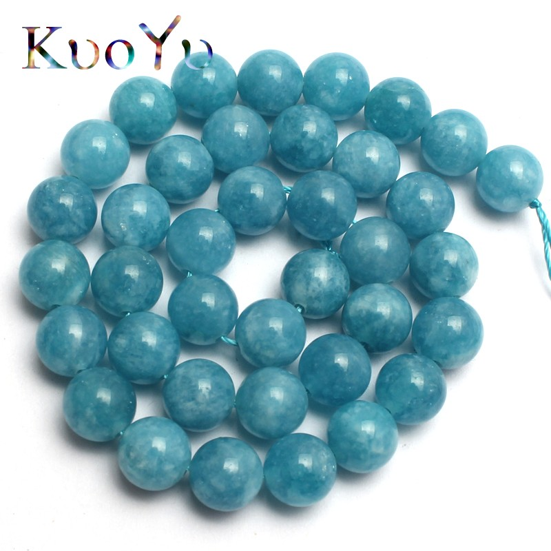 Natural Stone Blue Chalcedony Jades Round Loose Beads For Jewelry Making 15