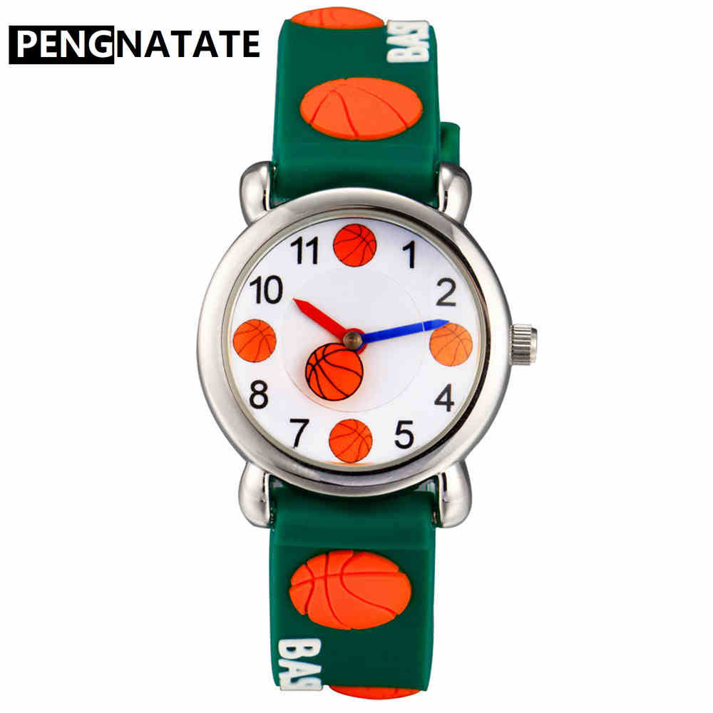PENGNATATE Children Basketball Watches Fashion Cartoon Bracelet Wristwatch Kids Boys Gifts 3D Silicone Strap Watch Waterproof