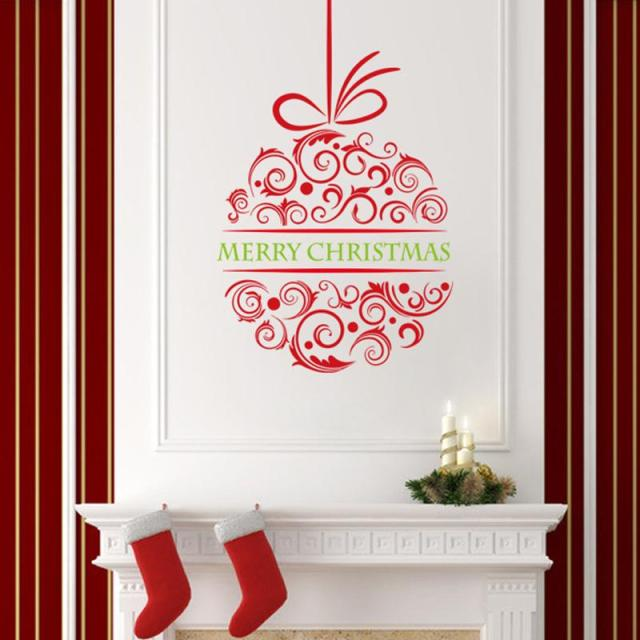 merry christmas wall stickers christian room home decorations flower diy vinyl xmas decals festival mual art - Christmas Wall Decor