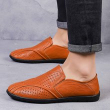 2019 spring and summer new breathable leather casual shoes peas mens hollow