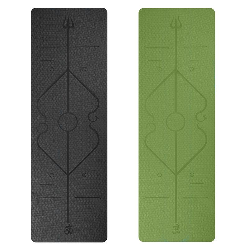 Multifunctional Environmental Protection Yoga Mat Body Line Black And Green Color Fitness Mat Easy To Carry And High Quality