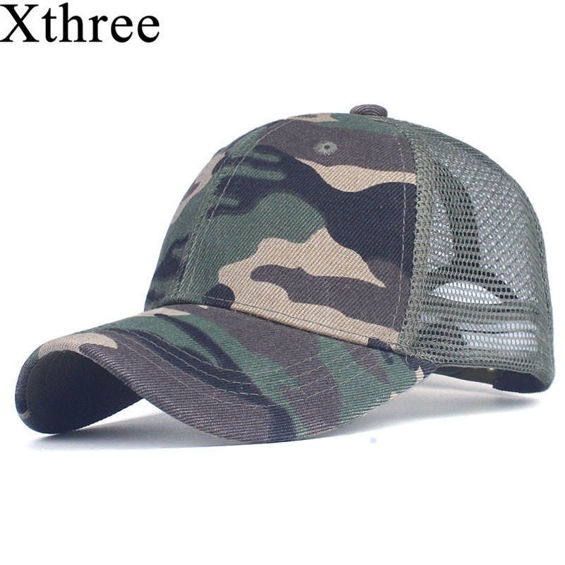 Xthree camouflage baseball cap mesh cap for men women  snapback Hat for men bone gorra  casquette fashion hat ming dynasty emperor s hat imitate earthed emperor wanli gold mesh hat groom wedding hair tiaras for men 3 colors