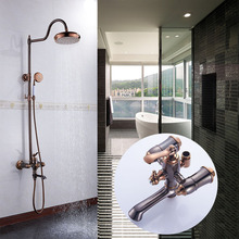 цена на Shower Faucets Luxury Bath Shower Sets Bathroom Wall Mounted Hand Held Antique Brass Shower Head Kit Shower Faucet Set G