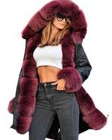 Roiii Women S Thicken Warm Luxury Casual Winter Wine Faux Fur Hooded Plus Size Parka Jacket