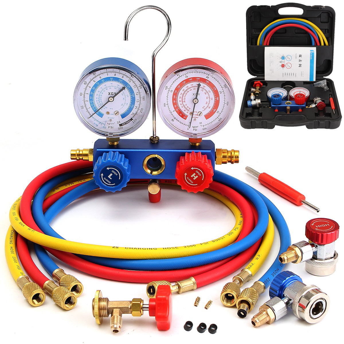 R134A HVAC A/C Refrigeration Kit Manifold Gauge Set R22 R12 R134A Auto Refrigerant H/L Car Air Conditioning Repair Tool Gauge car air conditioning refrigeration pressure test gauge r134a at2217