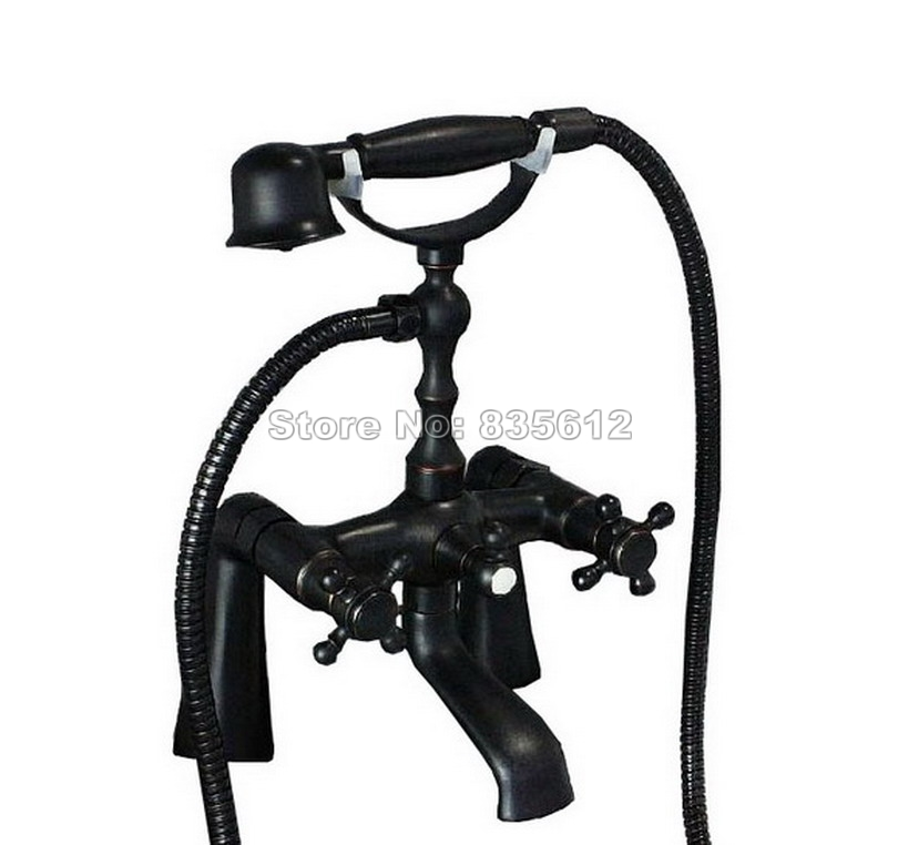 Black Oil Rubbed Bronze Deck Mounted Clawfoot Bathtub Faucet W/ Handheld Shower Dual Handles Bathroom Mixer Tap Wtf026 купить