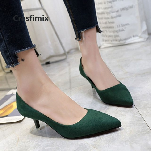 Cresfimix women cute sweet spring slip on green office high heels female casual comfortable shoes femmes hauts talons c3208