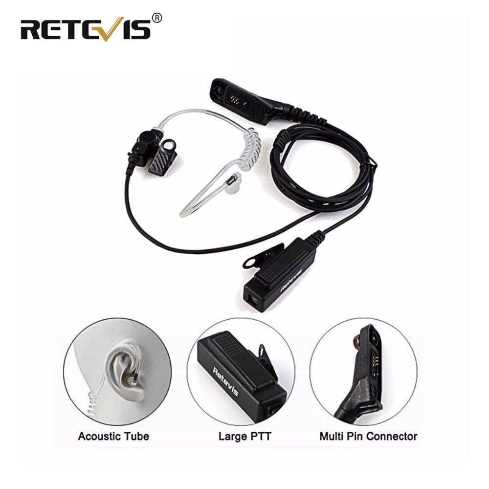Retevis R-1M21 Large PTT Mic Headset Acoustic Tube Earpiece For Motorola DP4800 DP4801 XPR6550 DGP4150 P8268 Walkie Talkie Etc.