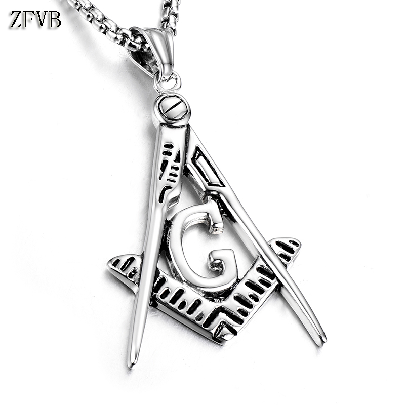 ZFVB Classic Freemason Necklace Pendant Men Jewelry Superior Quality 316L Stainless Steel Pendants Necklaces Master Masonic Gift