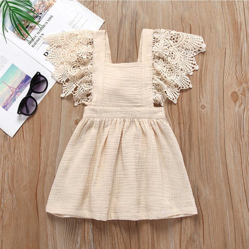 2019 เด็กใหม่เสื้อผ้าเด็กทารกชุดลูกไม้ Princess Party Dresses ฝ้ายผ้าลินินฤดูร้อนเสื้อผ้าน่ารักเสื้อผ้า