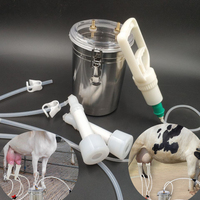 2L milking machine for goat farm animals cow sheep milk milker stainless steel double manual type food grade veterinary tools