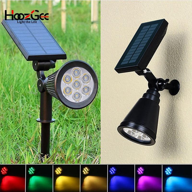 6 Pack Color Changing LED Solar Spot Light Flood Landscape Garden Path Post Lamp
