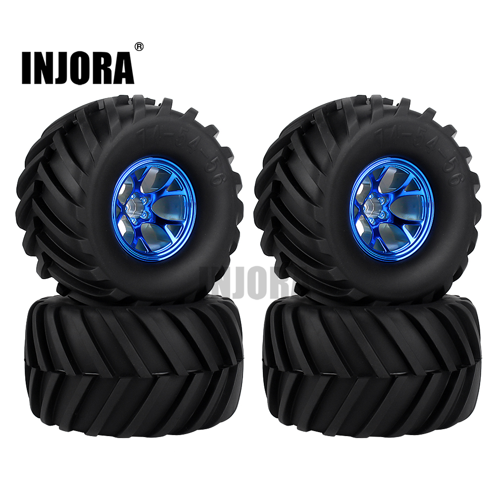 4Pcs Wheel Rim Tire Set For 1/10 RC Monster Truck Traxxas HIMOTO HSP HPI Remote Control RC Truggy Car