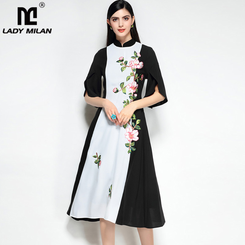 New Arrival 2018 Womens Stand Collar Half Sleeves Embroidery Patchwork Fashion Vintage Dresses