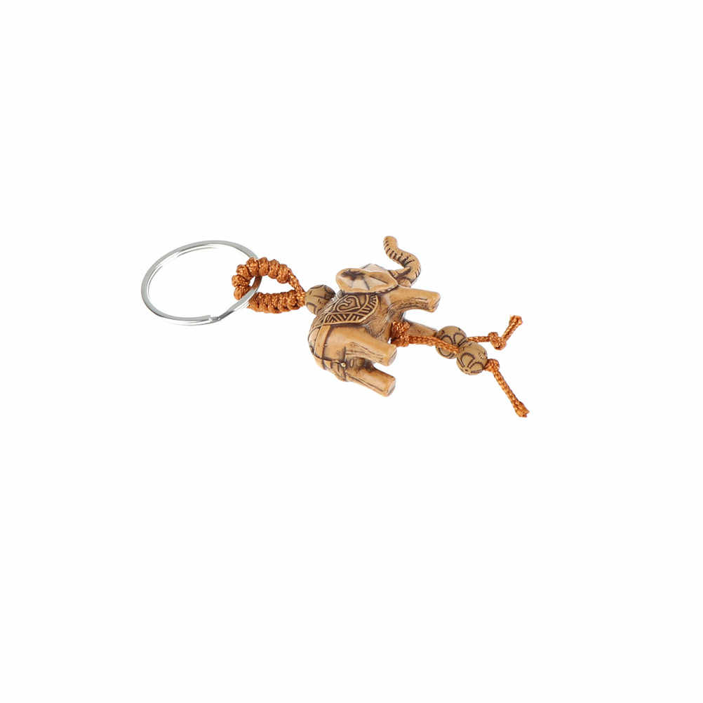 1pc Lucky Men Women's Elephant Carving Wooden Pendant Keychain Key Ring Chain Gift