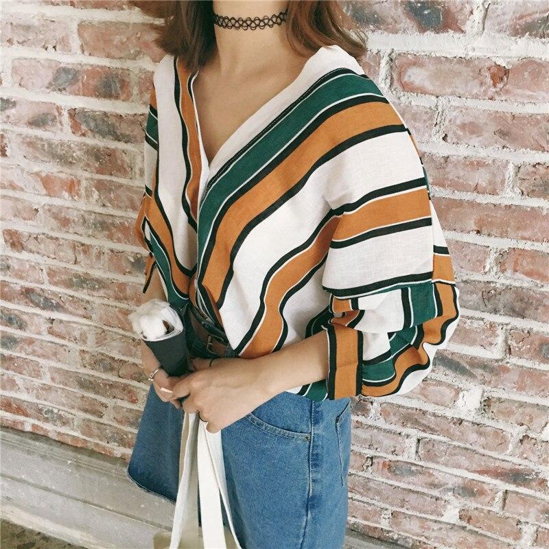 Women Cotton Blouses Long Sleeve Striped Blouse Shirt 2017 New autumn Korean Fashion Casual Female Tops Blusas Femininas Tops