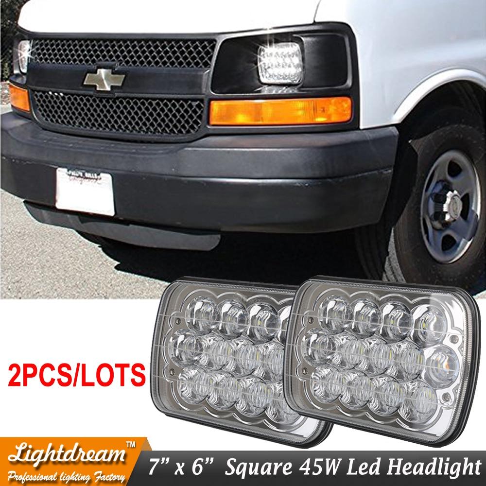 Pair 7 x6 7x6 7x5 6x7 5x7 led hid headlights bulbs crystal clear sealed beam with h4 headlight plug for firebird celica 240sx