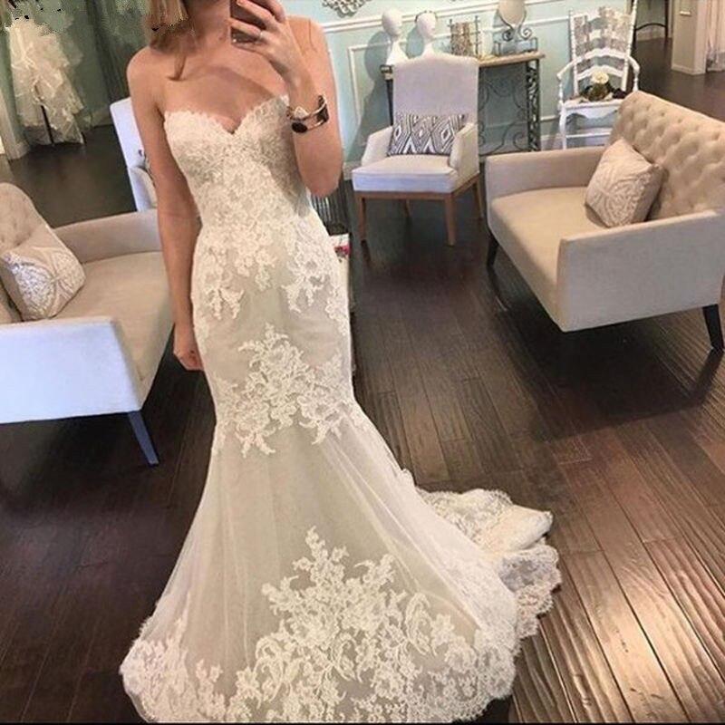 Lace Vestido De Noiva 2019 Muslim Wedding Dresses Mermaid Sweetheart Appliques Boho Dubai Arabic Wedding Gown Bridal Dresses