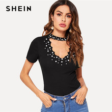 9a91e6c49697 SHEIN Black Pearl Beading Choker Neck Cut Out Rib-knit Tee Summer Slim Fit  T Shirt Women Elegant Short Sleeve Solid Tshirt Tops
