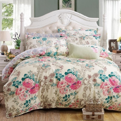 Free Ship American Rustic Fl Bird Print Pure Cotton Duvet Cover Bed Sheet Pillowcase 4pcs Lot Queen Bedding Sets Sp2060 In From Home